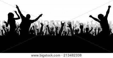 Concert disco dancing crowd silhouette , vector