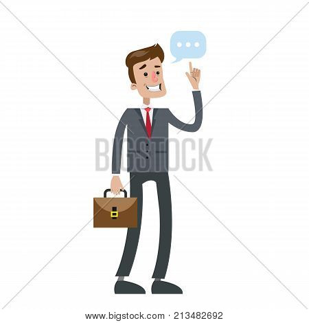 Isolated businessman thinking with think bubble on white background.