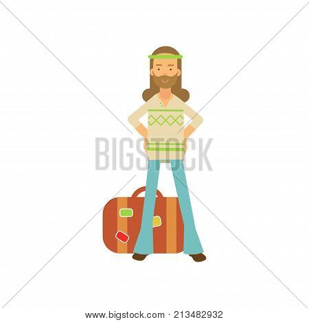 Flat cartoon bearded man hippie standing with arms akimbo near retro suitcase. Happy male with long hair, in classic sixties hippy subculture clothes. Flower child. Love and pacifism. Vector on white
