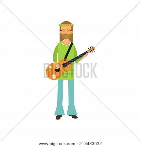 Flat cartoon man hippie standing with guitar. Carefree bearded male with long hair dressed in blue and green sixties hippy subculture clothes. Flower child. Love and pacifism. Vector isolated on white