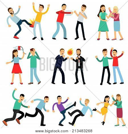 Cartoon illustration set of angry people fighting and shouting at each other. Male and female characters making loud public scandal. Aggressive and violent behavior. Flat vector isolated on white.