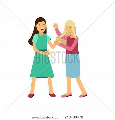 Furious woman drags young girl by hair. Loud public scandal concept. Aggressive behavior and fighting. Cartoon female characters in flat style. Vector illustration isolated on white background.