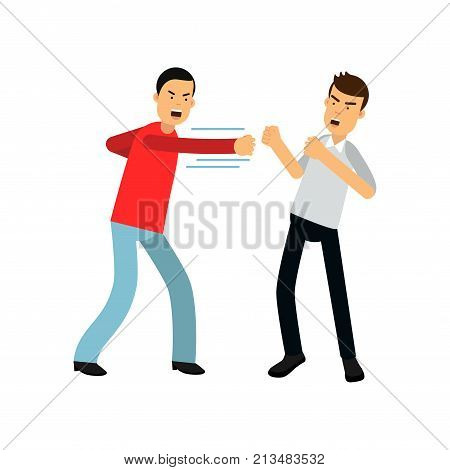 Man in red sweater attacking guy in gray shirt with fists. Fighting people. Aggressive and violent behavior. Male characters in flat style. Cartoon vector illustration isolated on white background.