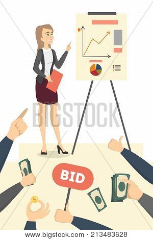 Woman with business plan and data board. Audience with money, questions and bid.