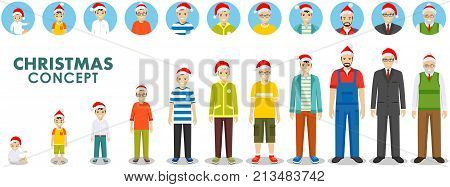 All age group of man family. Generations man. People generations at different ages in the Santa Claus hat isolated on white background in flat style. Stages of development people - infancy, childhood, youth, maturity, old age. Vector illustration.