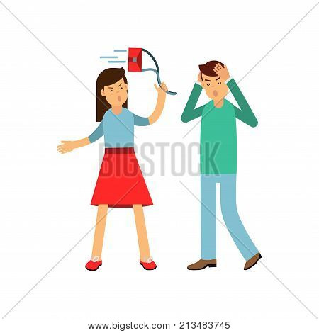 Young couple fighting and yelling at each other. Furious girl shouting and swinging her bag. Boy blocking by hands. Family conflict. Loud public scandal. Cartoon isolated flat vector illustration.