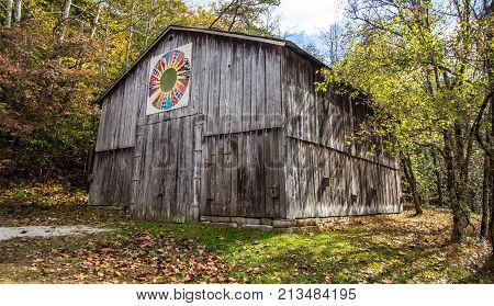 Slade, Kentucky, USA - May 27, 2015: Quilt barn on display in the Red River Gorge Recreation Area of the Daniel Boone National Forest in Slade Kentucky.