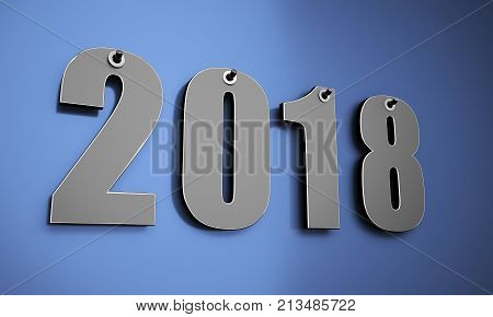 Happy new year 2018 on a wall 3D illustration