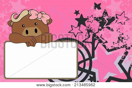 cute baby girl ox cartoon background copyspace in vector format