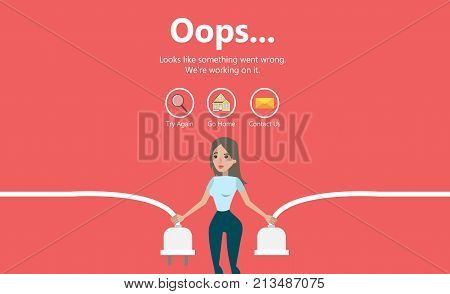 Error page illustration. Woman holding unplugged cable. Page not found.