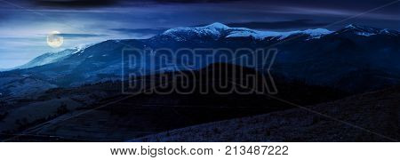 Great Mountain Ridge Borzhava At Night
