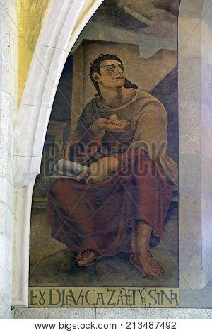 ZAGREB, CROATIA - AUGUST 19: Prophet Isaiah, fresco in the church of St. Mark in Zagreb, Croatia on August 19, 2017.