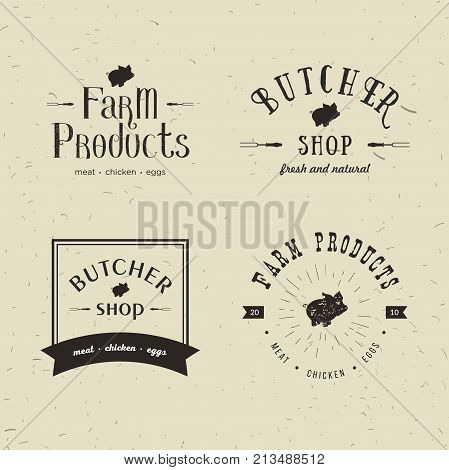 Set of retro styled butchery logo templates. Emblem of Butchery meat shop with Pig silhouette, text The Butchery, Fresh Meat, farm products. Farmer shop, market, restaurant or design banner, sticker