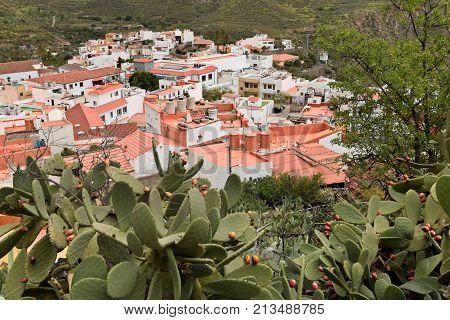 View of San Bartolome de Tirajana from above. Gran Canaria.