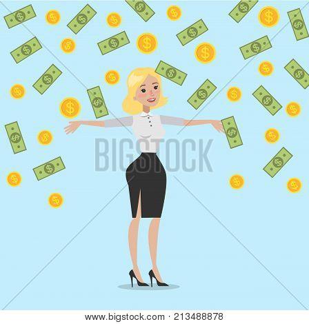 Money rain illustration. Businesswoman standing under money falling down.