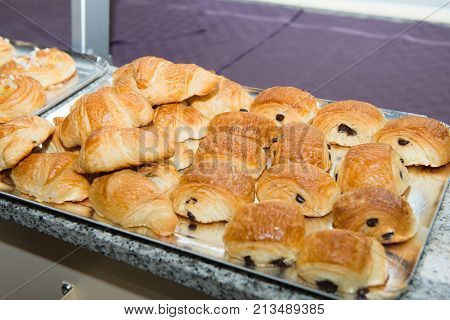 a French viennoiserie pain au chocolat and croissants