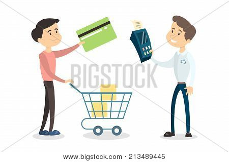 Payment with card. Man paying for products with card and pos.
