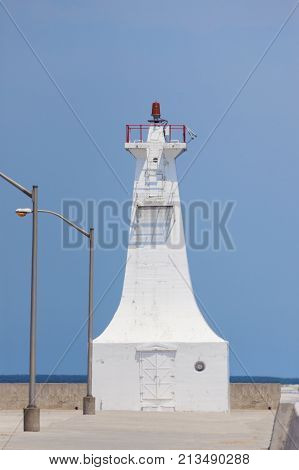 Burlington Canal Pier Lighthouse By Lake Ontario. Ontario Canada.