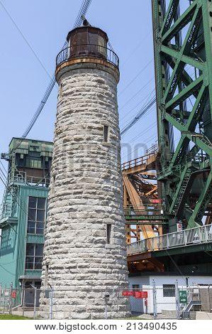 Burlington Canal Main Lighthouse By Lake Ontario. Ontario Canada.