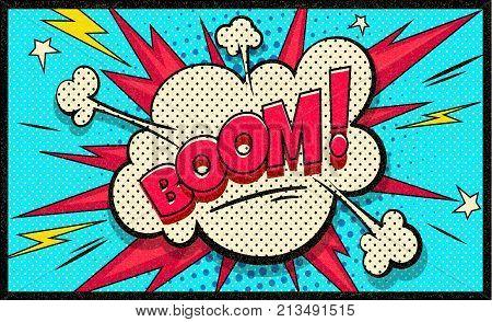 Boom pop art cloud bubble. Funny speech bubble. Trendy Colorful retro vintage background in pop art retro comic style. Easy editable for Your design.