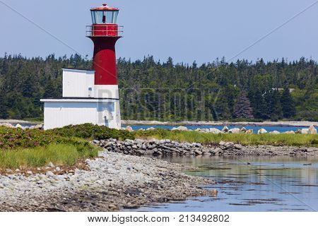 Pubnico Harbour Lighthouse in Nova Scotia. Nova Scotia Canada.