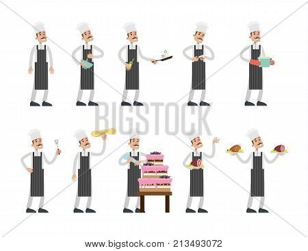 Cooking chef set. Man with moustache in unifrom preparing food.
