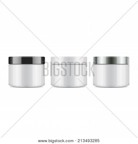 Set of round white plastic jar with lid for cosmetics. Vector mockup template for your design