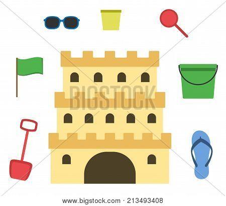 Sand castle isolated in flat style. Cartoon style sandcastle. Children summer activities. Vector illustration.
