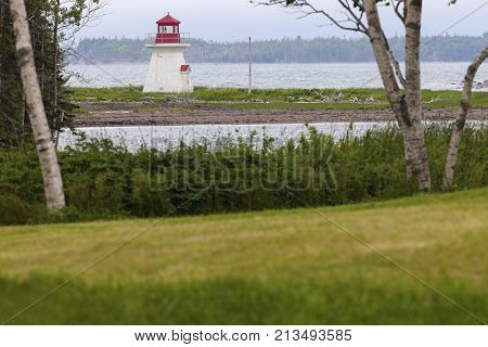 River Bourgeois Lighthouse in Nova Scotia. Nova Scotia Canada.