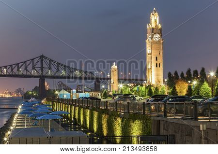 Montreal Clock Tower at night. Montreal Quebed Canada.