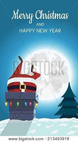Santa Claus on the roof descends into the chimney. Christmas design of a winter holiday poster, postcards, for banners, posters, brochures, leaflets, Place for your text. Vector illustration