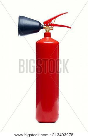 Image of red fire extinguisher on empty white background