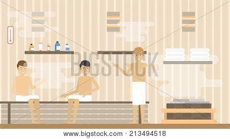Spa for men. Sauna bath for men.