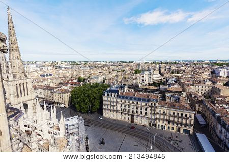 Aerial panorama of Bordeaux. Bordeaux Nouvelle-Aquitaine France.