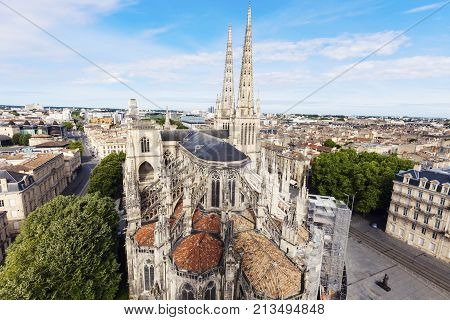 Saint Andre Cathedral on Place Pey-Berland in Bordeaux . Bordeaux Nouvelle-Aquitaine France.