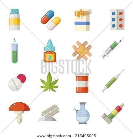 Pharmacy illustrations. Different drugs in cartoon style. Narcotic and painkiller in container, tablet antibiotic vector