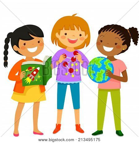 Curious girls learning about scientific subjects through book and other items