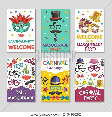 Banners or cards set with illustrations of funny tools for masquerade. Design template with place for your text. Masquerade holiday banner, party carnival card of set vector