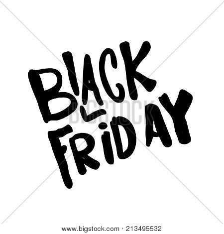 Black Friday hand drawn lettering font promotion vector for shopping banner card.