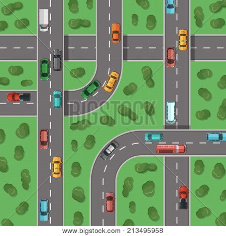 Vector top view highways with cars and with trees in between top view illustration. Highway road traffic transport, top view crossroad outdoor