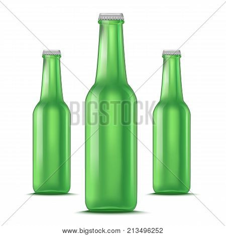 Realistic Detailed Green Glass Beer Bottle Set Liquid Alcohol Drink Isolated on White Background. Vector illustration