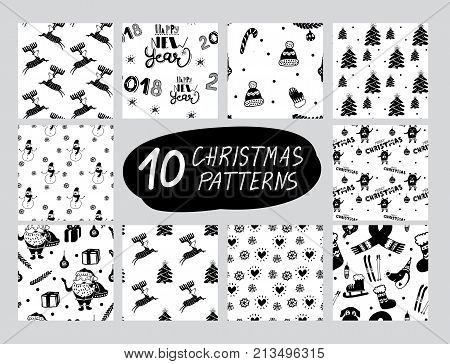 Vector seamless Christmas and New Year cartoon pattern set. Black and white. Nordic pattern collection for paper textile handmade decoration scrap-booking polygraphy t-shirt cards.