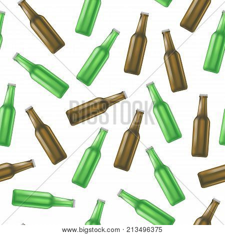 Realistic Detailed Green and Brown Glass Beer Bottle Background Pattern Liquid Alcohol Drink Isolated on White Background. Vector illustration
