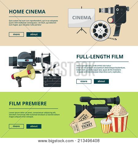 Horizontal banners set with cinema compositions. Video entertainment pictures. Home cinema and video camera, clapper and banner cinematography production. Vector illustration