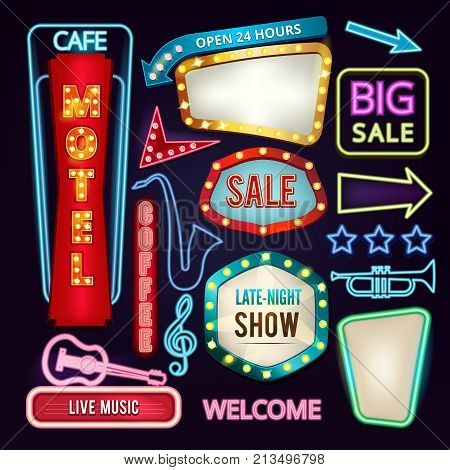 Set of light signs, boards and arrows. Retro neon banners for advertising. Neon billboard, arrow banner and vintage show advertising. Vector illustration