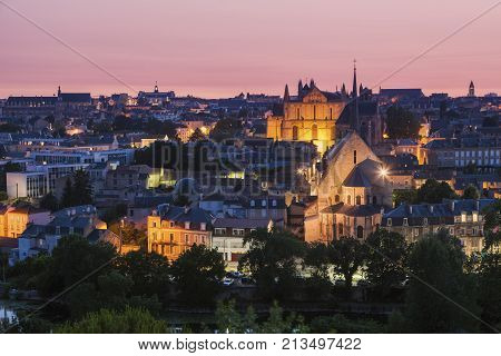 Panorama of Poitiers with Cathedral of Saint Peter at sunset. Poitiers Nouvelle Aquitaine France.