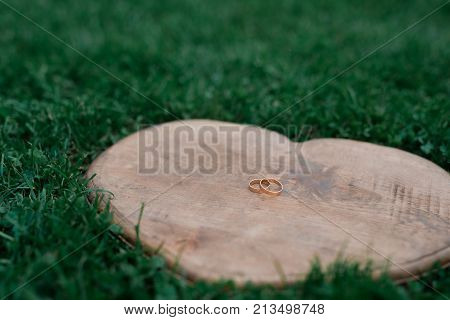 Wedding rings on a heart-shaped wood placed on the grass
