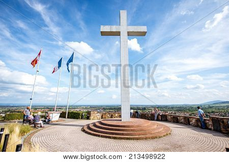 OBERNAI, FRANCE - July 26, 2017: Monument to the Malgre-Nous in Obernai town in Alsace region in France