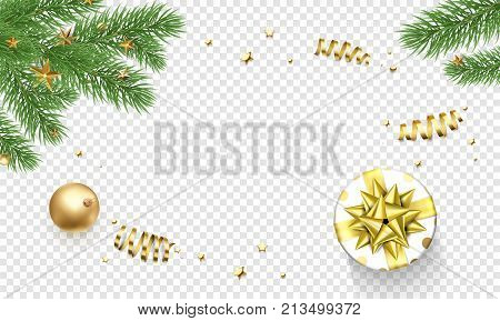 Christmas New Year Greeting Card Background Template Golden Stars Confetti Gift Presents Decorations