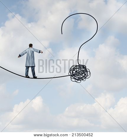 Doctor questions and medical risk uncertainty as a medical professional or scientist walking on a high wire shaped as a question mark in a 3D illustration style.